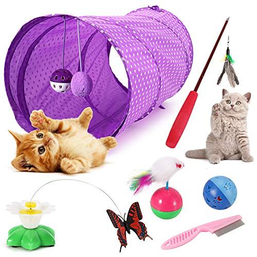 Emooqi Katzenspielzeuge, Interaktives Katzenspielzeug, 6 Stück Katzenspielzeug Set Mit Katzentunnel Jingle Bell Katzen Spielzeug Katzenspielzeug Katzenzubehör Verschiedene Spielzeug Für Katze Kitty