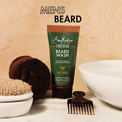 SheaMoisture Beard Wash for a Full Beard Maracuja Oil & Shea Butter to Deep Clean and Refresh Beards 6 oz