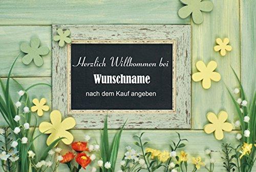 Crealuxe Fussmatte Herzlich Willkommen bei mit Wunschname (nach dem Kauf angeben) 74 - Fussmatte Bedruckt Türmatte Innenmatte Schmutzmatte lustige Motivfussmatte