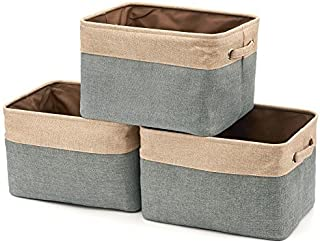 EZOWare Set of 3 Collapsible Large Cube Fabric Linen Canvas Storage Bins Baskets for Shelves Cubby Laundry Playroom Closet Clothes Shoe Baby Toy with Handles (Brown/Gray)