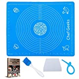 Chef Geeks 2in1 XL Non-Stick Silicone Baking Mat Sheet Dough Rolling +Pastry Brush +Dough Scraper Cutter +Wrapping Tie