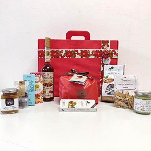 Gustosissima Confezione regalo di Natale 'Stromboliana' con 10 dolci siciliani (panettone Fiasconaro, biscotti alla mandorla, crema di pistacchio, rosolio alla cannella, cioccolato di Modica Bonajuto)