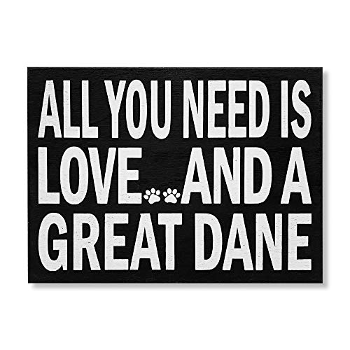 JennyGems Great Dane Gifts, Dog Lover Gifts, All You Need is Love and A Great Dane Wooden Sign, Gift for Great Dane Owners, Dog Mom and Dog Dad Gifts, Great Dane Decor Signs
