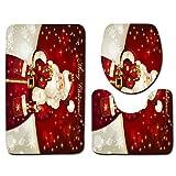 papasgix 3 Piece Merry Christmas Bath Mat Set, Bathroom Mats Set Non-Slip Bathroom Rugs/Contour Mat/Toilet Cover (Santa Claus #1)