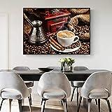 Leche Café Pinturas en lienzo Granos de café vintage Arte de la pared Impresiones en lienzo Cuadros de la pared del hogar para la decoración del comedor-60x80cm Sin marco