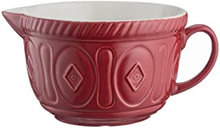 Mason Cash Color Mix Ceramic Batter Bowl; Large Enough to Whisk and Mix Ingredients; Pouring Lip and Handle; 8-Cups/Half Gallon; 10-1/4-Inches by 7-3/4-Inches by 5-Inches; Red