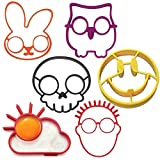 youfenghui 6 Pcs Halloween Horror Skull Fried Egg Mold, Halloween Cartoon Fried Egg Ring Mould,Non-Stick Silicone Breakfast Omelette Device,Creative Egg Frying Silicone Mould