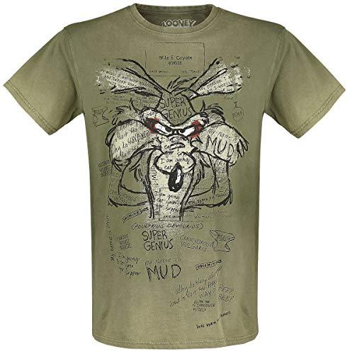 Looney Tunes Wile E. Coyote - Inner Thoughts Hombre Camiseta Caqui XL, 100% algodón, Regular