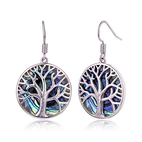 Tree of Life Earrings For Women Lab-Created Abalone | Barzel Lab-Created Abalone Pearl & 18K White Gold Plating Tree Of Life Dangling Teardrop Earrings