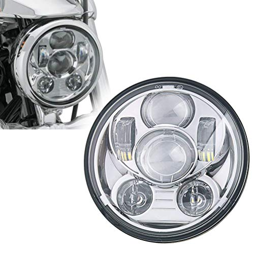 SUNPIE 5-3/4 5.75 Inch Projector LED Headlight for Harley Davidson Motorcycles Headlamp 45W Chrome