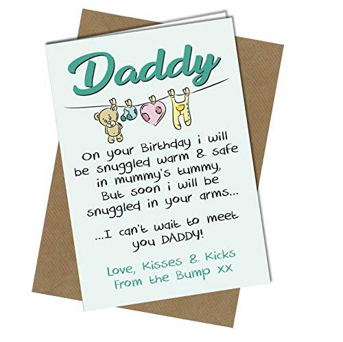 #1072 Geburtstagskarte für Papa Mummy To Be Love from Baby Bump 1. Geburtstag Karte Gedicht Süß