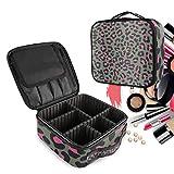 Estampado De Leopardo Rosa Bolsa de Maquillaje Organizador de Cosméticos Portátil Estuche Mochila con Divisor Ajustable para Mujeres Niñas