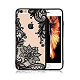 iPhone 6 Case,iPhone 6s Case,HUIYCUU Totem Henna Lace Flower Slim Fit Case Soft Bumper Border Matte Hard Back Cover Girls Paisley Datura Design for iPhone 6 6S 4.7 inches,Black Mandala