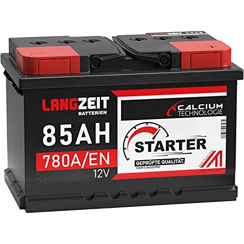 LANGZEIT Autobatterie 85Ah 12V Starterbatterie ersetzt 72Ah 74Ah 75Ah 77Ah 80AH