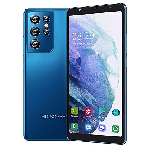 Telefoni portatili Android economici e duraturi, doppia carta standby 3G rete, 5.5-pollici touch screen ad alta definizione, supporto Bluetooth, WiFi, GPS (S21Ultra-Blue)