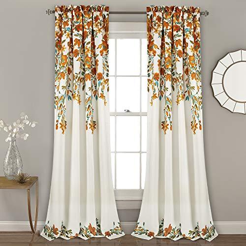 "Lush Decor Tanisha Curtains | Room Darkening Floral Vine Print Design Window Panel Set (Pair), 84"" x 52"" -Tangerine and Turquoise, 84"" x 52"", Tangerine & Turquoise"