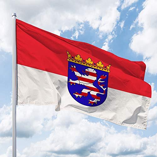Deitert Bundesland-Flagge Hessen – 150x100 cm Hessen Fahne mit Wappen, Hissfahne aus reißfestem Polyester