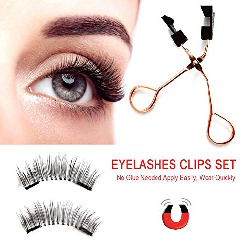 HUVE Magnetic Eyelashes Curler Set Quantum Soft Magnetic False Cils Natural Long Black Magnetic Eyelash Curler with Tweezers for Women