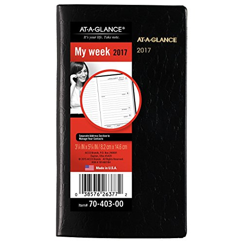 "AT-A-GLANCE Weekly Planner / Appointment Book 2017, 3-1/4 x 5-3/4"", Color Selected For You May Vary (70-403-00)"