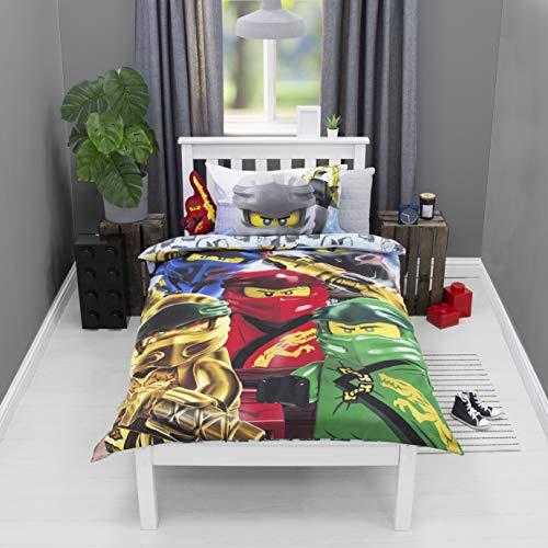 LEGO Official Ninjago Single Duvet Cover   Ninja Design   Boys & Kids & Teenager Reversible Bedding Set & Pillowcase, Dark Blue