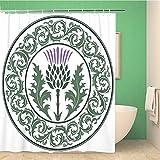 ZLWSSA 3D wasserdichte Duschvorhang Distel Blume & r&es Blatt Das Symbol von Schottland Bad Vorhang 180x200cm