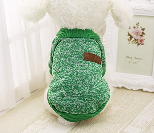 Idepet Haustier Katze Hund Pullover, Warme Hund Pullover Cat Kleidung, Fleece Haustier Mantel für Welpen Klein Mittel Groß Hund (S, Grün)