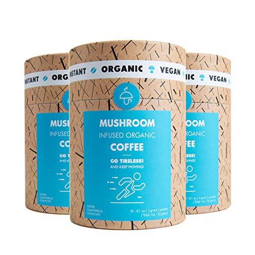 Mushroom Cups Go Tireless Superfood Instant Mushroom Coffee - 30pk of Wild Mediterranean Chanterelle & Cordyceps $1.16 per serving for Energy and Focus Vegan Organic Gluten Free Sugar Free