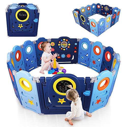 YOLEO Parque Infantil para Bebés, Corralito Bebe XXL 12 + 2 paneles, Centro de Actividades para Niños, Patio de Juegos de Seguridad Hogar Interior Exterior de 0 a 6 Años, Plegable, Azul