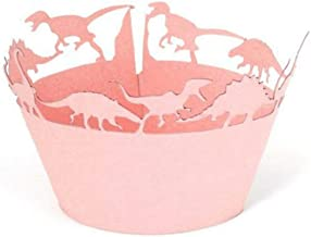 EBTOYS 50pcs Cupcake Wrappers Dinosaur Cupcake Liners for Wedding Party Fancy Party Decoration (Pink)