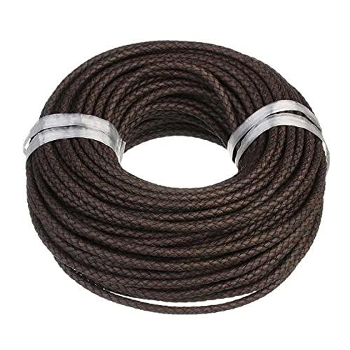 HKFG 1 m/Lote 6mm cordón de Cuero Trenzado marrón Cuerda Ajuste Collares Pulseras hallazgos Hilo de Cuero fabricación de Joyas DIY