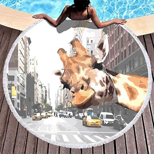 YxueSond R&e Beach Towel Selfie Giraffe in NY Saugstark Frottee Tagesdecke Strandtuch White 150cm