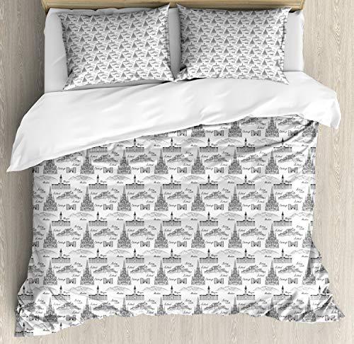 ABAKUHAUS Schotland Dekbedovertrekset, Famous Cities Sketches, Decoratieve 3-delige Bedset met 2 Sierslopen, 230 cm x 220 cm, Charcoal Grey White