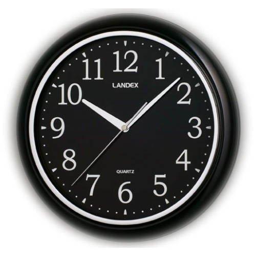 LANDEX(ランデックス) 壁掛け時計 ラウンドワンBB 連続秒針 ブラック YW9066BB