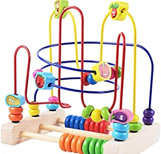 Leng QL Kids Early Development Toy Wooden Colorful Abacus Circle Toy Educationnal Bead Maze Creative Gifts for Kids(Vegetable Three) Great Gifts