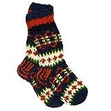 Funky Makalu - Calcetines de lana tejida a mano para invierno, color naranja, azul marino y verde