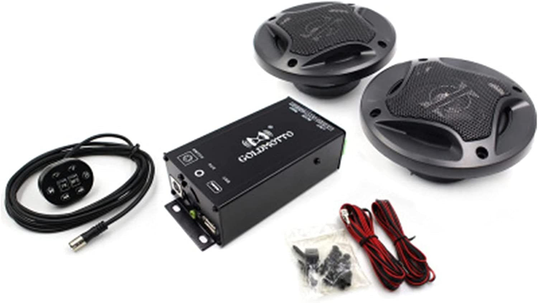 TANGZHOU Amplificador de audio de alta potencia de 12V altavoces de radio de motocicleta MP3 Jugador bluetooth ajuste para ATV UTV Scooter FM USB Sistema de sonido musical ( Color : 1 pair speaker )