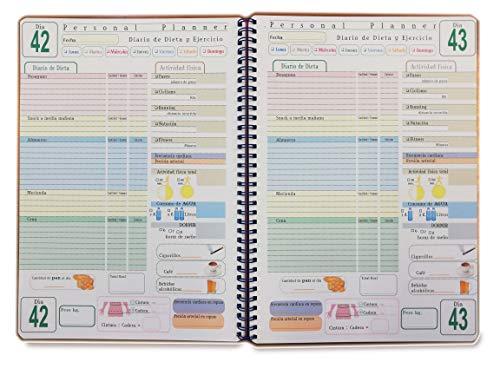 Personal Planner - DIARIO de DIETA - 100 DÍAS - Cuaderno con Espiral - tamaño A4 21x30cm - Español