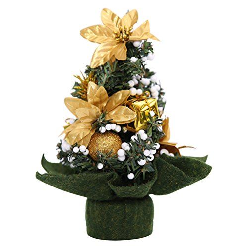 Tinksky Mini Home Office Bedroom Living Room Desk Top Artifical Christmas Tree with Pinecone Bows Gifts Ornaments Decorations Christmas Gift (Golden Flower)