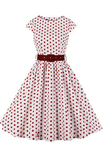 Axoe Vestido vintage para mujer de los años 50, Audrey Hepburn, estilo rockabilly, de cóctel, de fiesta, de lunares, rojo, XS-S