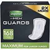 Depend Incontinence Guards/Bladder Control Pads for Men, Maximum Absorbency, 168 Count (2 Packs of 84) (Packaging May Vary)