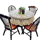 Yizunnu Mantel redondo de ganchillo vintage hecho a mano de algodón de encaje de mesa de boda