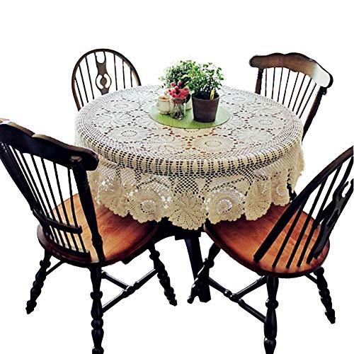 Yizunnu - Mantel redondo vintage hecho a mano de ganchillo, algodón, con...