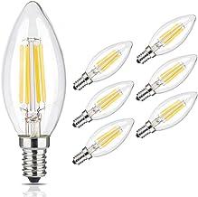Goodia Torpedo Shape Candelabra LED Bulbs, Clear Glass Bullet Top Candle Bulbs 4W E12 Base Vintage Lamp for Indoor Chandel...