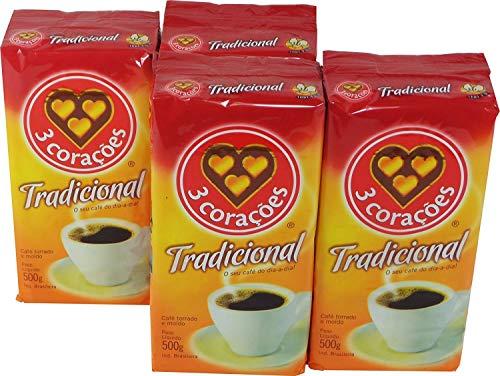 3 Coracoes Brazilian Ground Coffee 500 grams (Premium ER, Pack of 4)