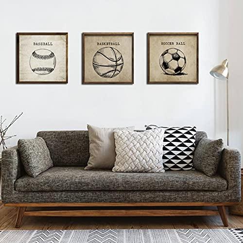 Boceto vintage Balones de fútbol de baloncesto Pinturas en lienzo Carteles de gimnasio Imagen de arte de pared para niños Decoración de habitación de niños 50x50cmx3 Sin marco