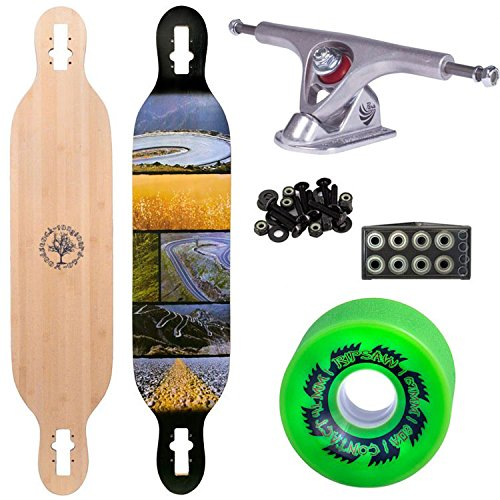 """Woodstock Mojo 41.5"""" Bamboo Longboard Complete with Paris Raw Trucks Abec 9 Bearings and Ripsaw Wheels"""