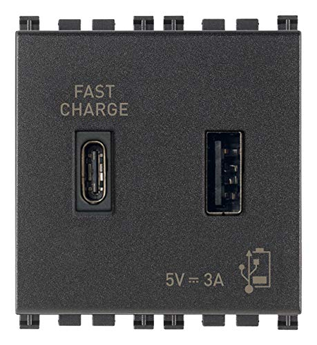 Vimar 19295.AC Arké USB-Steckdose 5 V 3 A, 1 USB-Ausgang Typ A und 1 Typ C, insgesamt 3 A zum Aufladen eines Geräts bis zu 3 A oder gleichzeitig zwei Geräte