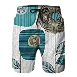 mengmeng Forma Estudio Tallos Bloque Azul Flores Hombre Bañador Troncos de la Junta Pantalones Cortos de Playa Natación Surfing Boardshorts