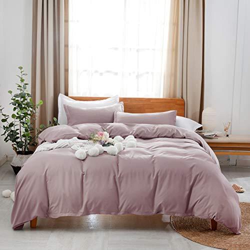 Estoulen - Juego de funda de edredón para cama de matrimonio, 100% microfibra, 3 piezas, suave y lujoso, color sólido, con cierre de...
