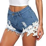 deley donna pizzo uncinetto nappa vita alta denim sexy shorts jeans distressed pantaloni hot pants con tasche blu taglia s